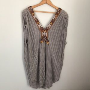 Free people beaded and embroidered v-neck tunic